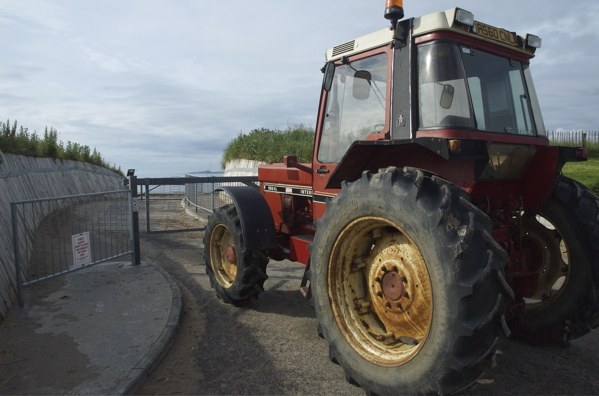 Tractor in the slip of Beadnell Bay Boat Launch